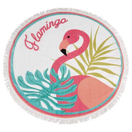 Toalla de playa redonda con flamenco rosa y flecos orchestra us - Toallas redondas de playa ...