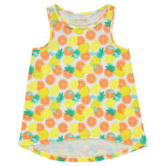 Slub jersey tank top with exotic print