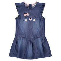 Denim-effect dress with frilled short sleeves and embroidered details