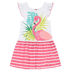 Frilled dress with printed pink flamingo and stripes
