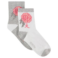 Junior - Set of 2 pairs of socks with a jacquard Japan-style flower