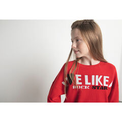 Junior - Red knit sweater with a jacquard message