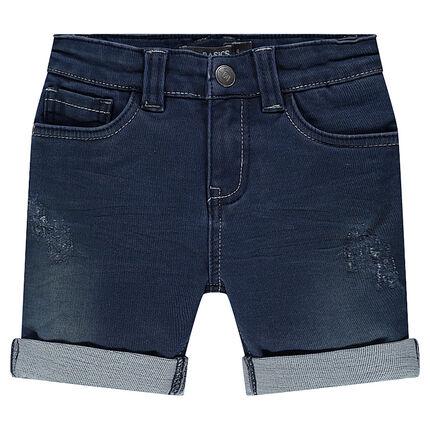Junior - Distressed denim-effect fleece bermuda shorts