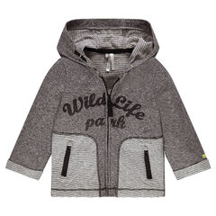 Hooded jacket in laminated jersey with printed message