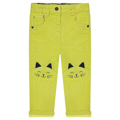 Lime-green velvet pants with embroidered cats
