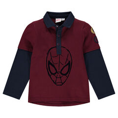 Long-sleeved, 2-in-1 effect polo shirt with ©Marvel Spiderman print