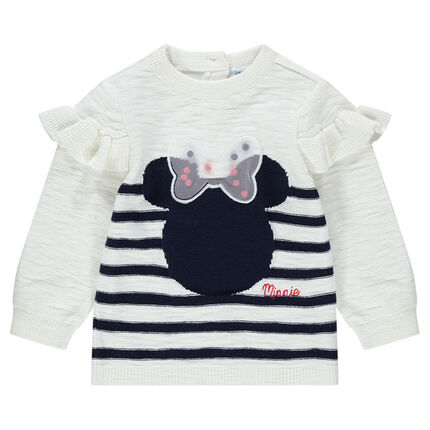 Slub knit sweater with ©Disney Minnie Mouse in jacquard and tulle bow