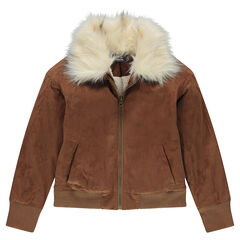 Junior - Imitation suede bomber jacket with collar in fake fur