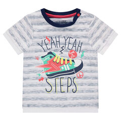 Short-sleeved striped tee-shirt with printed shoe