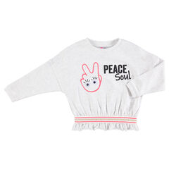 Fleece sweatshirt with trendy prints and laminated eyes