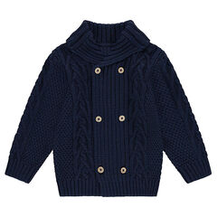 Knit cardigan with fancy stitches and roll neck