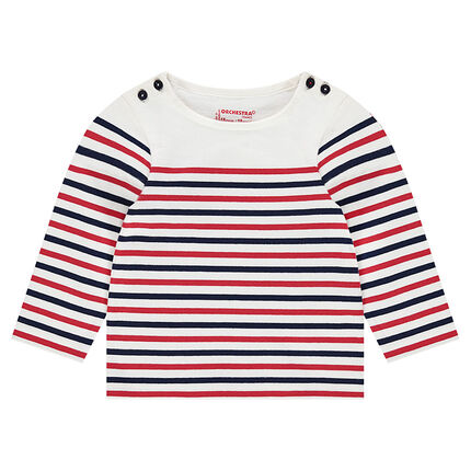 Jersey tee-shirt with contrasting stripes