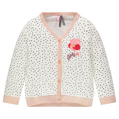 Thin knit cardigan with printed polka dots and embroidered flower