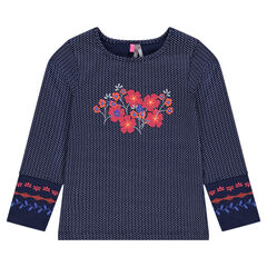 Long-sleeved tee-shirt with printed polka dots and flowers