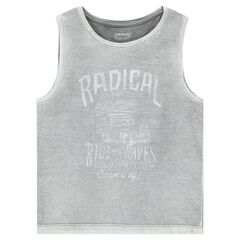 Overdyed jersey tank top with printed messages