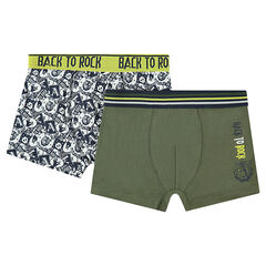 Junior - Set of 2 pairs of printed/plain-colored cotton boxers