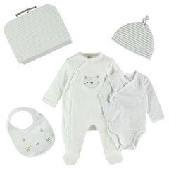 Newborn gift set with bodysuit, footed sleeper and bib