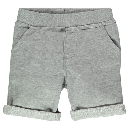 Plain-colored, light fleece bermuda shorts