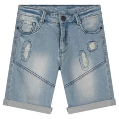 Junior - Bermuda shorts in distressed denim