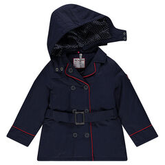 Padded trench coat in water-repellent twill with removable hood