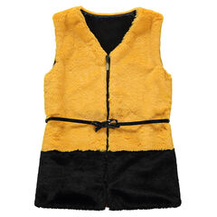 Junior - Two-tone fake fur jacket with a varnished belt