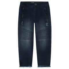 Used-effect fitted jeans with zipped pockets