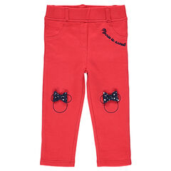 Red jersey jeggings with embroidered Minnie Mouse and bows