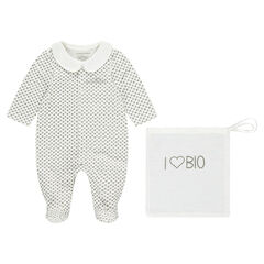 Long-sleeved printed sleeper in organic cotton