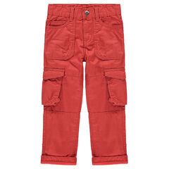 Red canvas cargo pants with flap pockets
