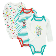 Set of 3 original bodysuits with opening adapted according to the age