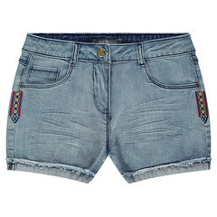 Junior - Denim shorts with embroidered yokes