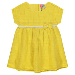 Waffle-effect dress with sparkly band and bow