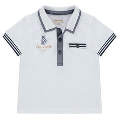 Short-sleeved polo shirt in pique cotton with contrasting stripes and pocket