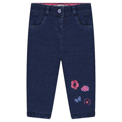 Denim-effect fleece pants with contrasting embroidery