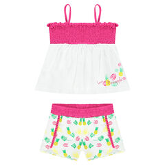 Ensemble with a smocked top and shorts with an allover print