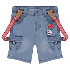 Used denim-effect fleece bermuda shorts with elastic suspenders