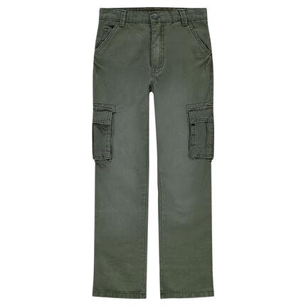 Junior - Cargo-style khaki pants with pockets