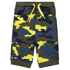Fleece bermuda shorts with army print