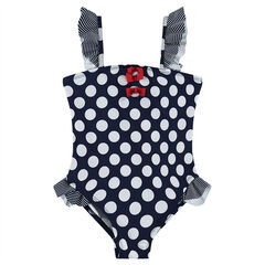 1-piece swimsuit with allover polka dots and frills