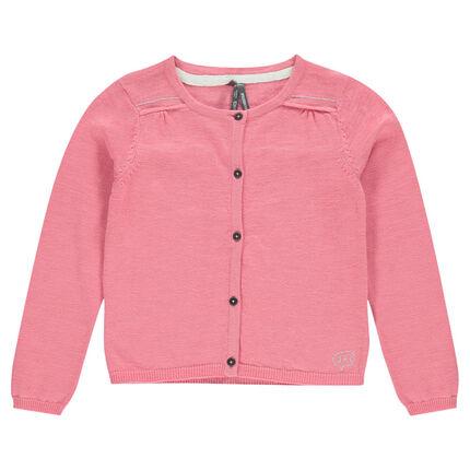 Plain-colored, slub knit cardigan
