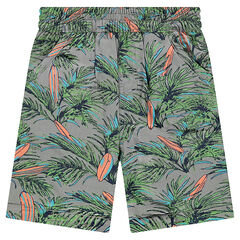Reversible bermuda shorts with 1 printed twill side and 1 plain lime-green jersey side