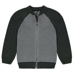 Junior - Two-tone ottoman knit cardigan