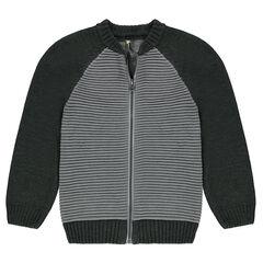 Junior - Two-tone ottoman knit cardigan