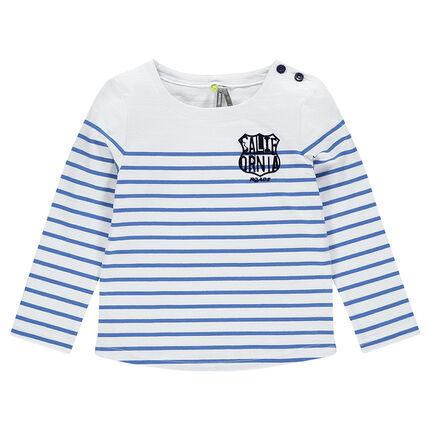 Heavy jersey sailor-stripe shirt with felt print