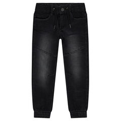 Used-effect jeans with elasticated ankles