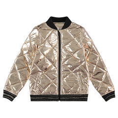 Golden letterman-style padded jacket with a sherpa lining