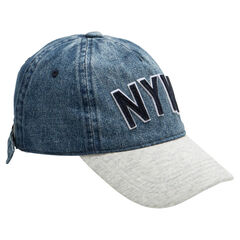 Junior - Denim-like and fleece cap with letter patches