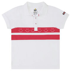 Short-sleeved polo shirt with contrasting bands and a ©Smiley