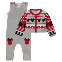 Ensemble with Disney Minnie Mouse knit cardigan and overalls