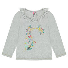 Long-sleeved printed tee-shirt with frilled collar